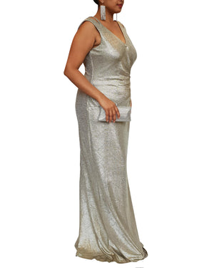 V-Neck Shoulder Cut Gown