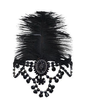 Black Crystal Feather Gatsby Headband