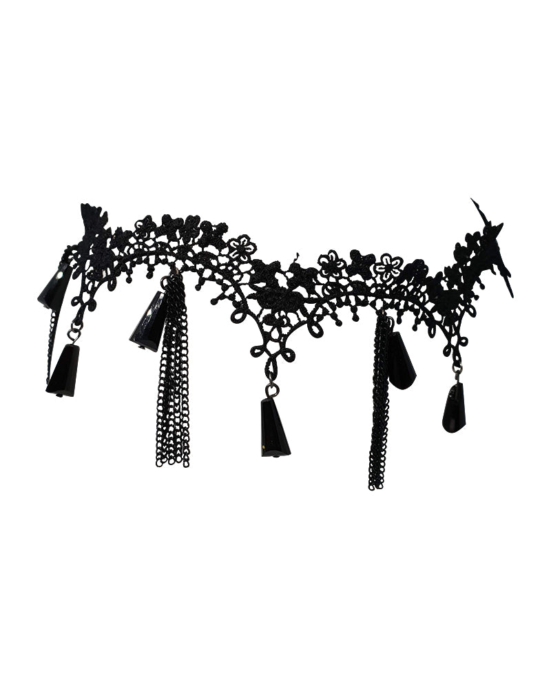 Black Lace Tassel Gatsby Headpiece