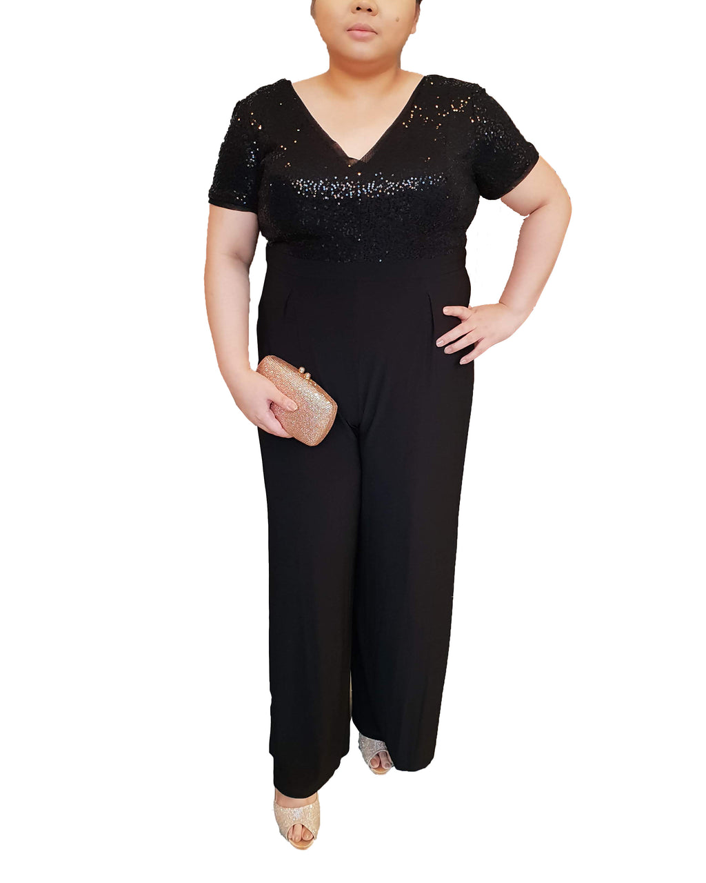 V-Neck Black Sequin Jumpsuit