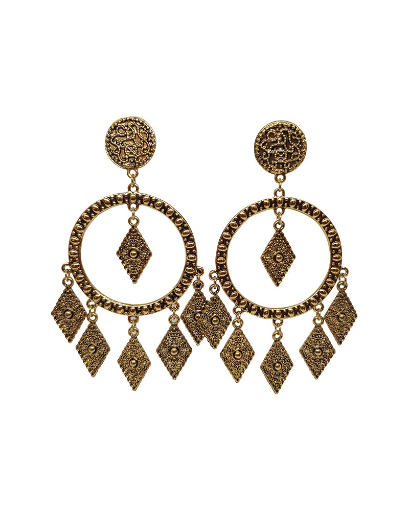 Antique Gold Hoop Earrings