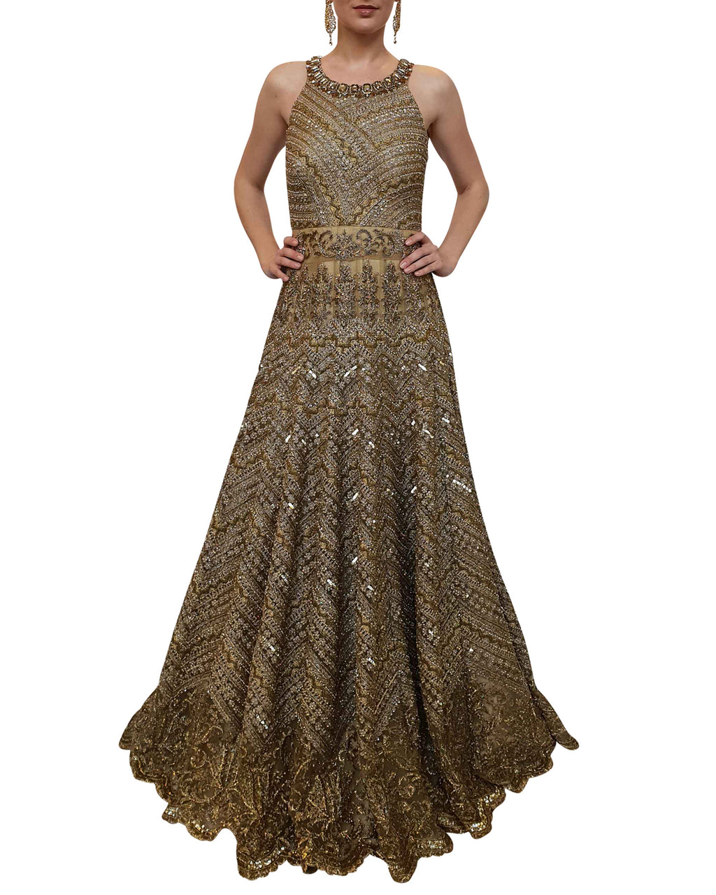 Embellished Antique Gold Gown