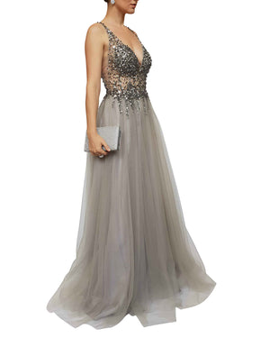 Silver Embellished Low Neck Gown