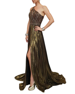 Metallic Pleated Embellished Gown