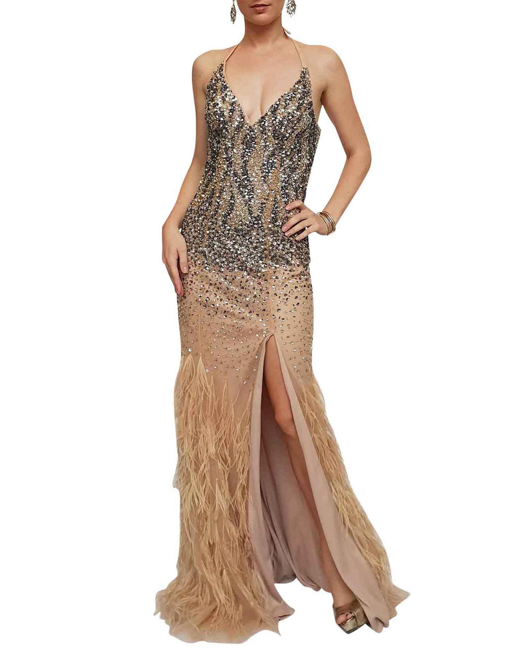Halter Beaded Feather Mermaid Gown