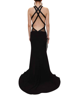 Criss-Cross Strap Black Embellished Gown