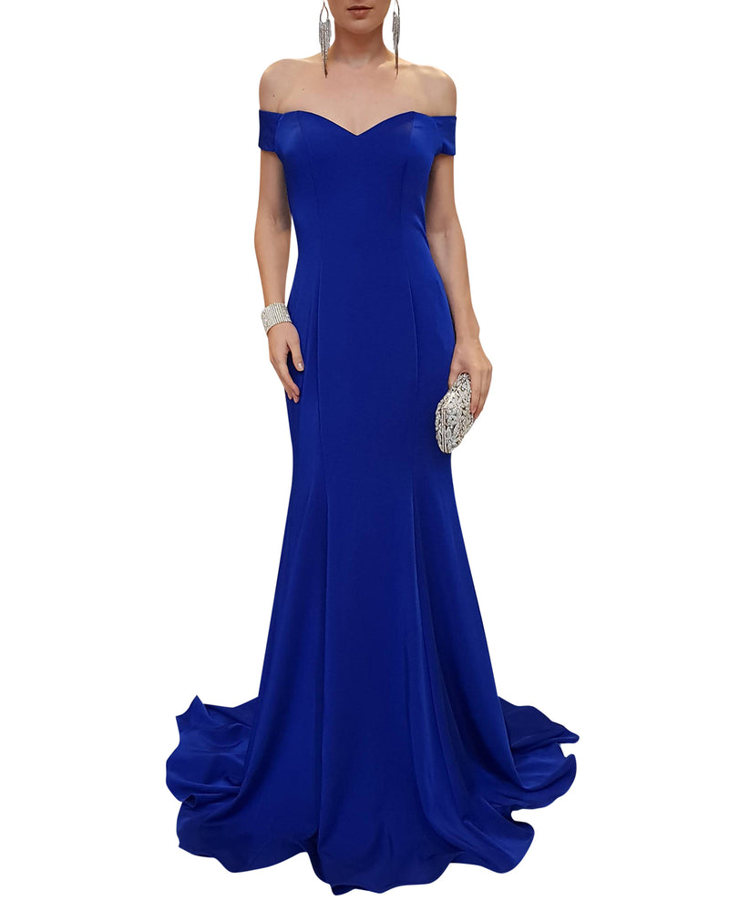 Off-Shoulder Royal Blue Satin Gown