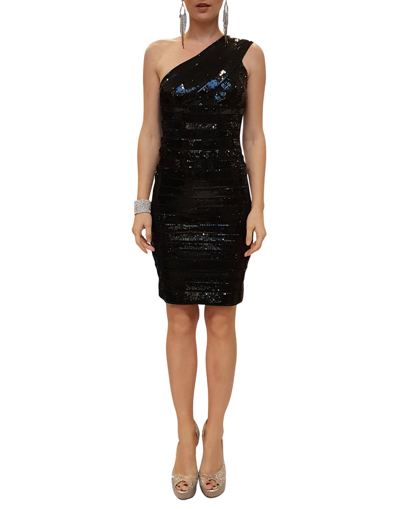 Black Sequin One-Shoulder Dress