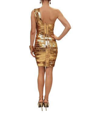 Gold Sequin One-Shoulder Dress