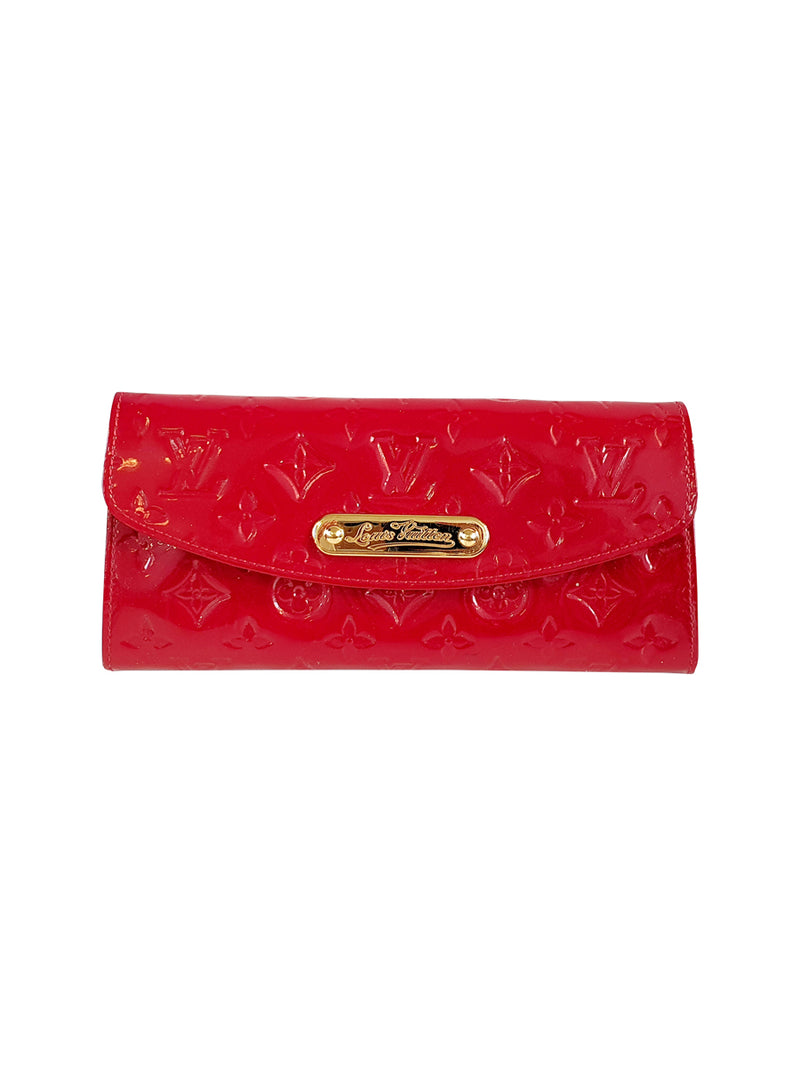 Red Patent Leather Embossed Clutch