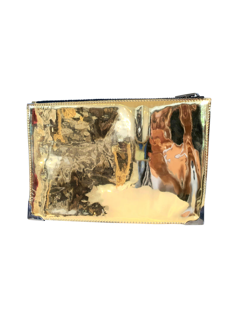 Gold mirrored clutch