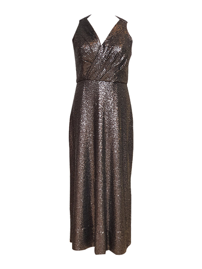 Titanium Dark Silver V-Neck Sequin Gown