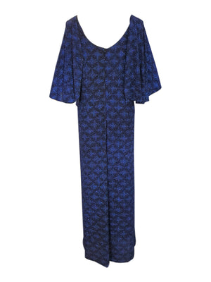 Blue Winged Sleeve V Neck Gown