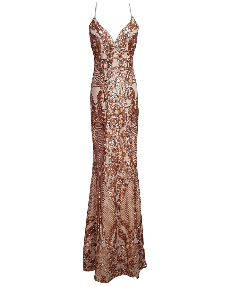 Royale Patterned Sequin Column Gown