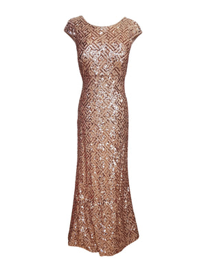 Cap Sleeve Geometric Sequin Gown