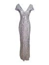 Silver Cap Sleeve V-Neck Dress