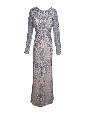 Sequin Long Sleeve Gown