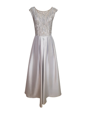 Beaded Overlay Taffeta Gown