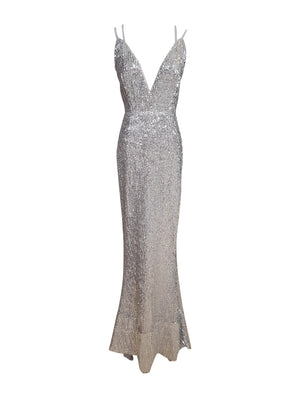 Silver Sequin Criss-Cross Back