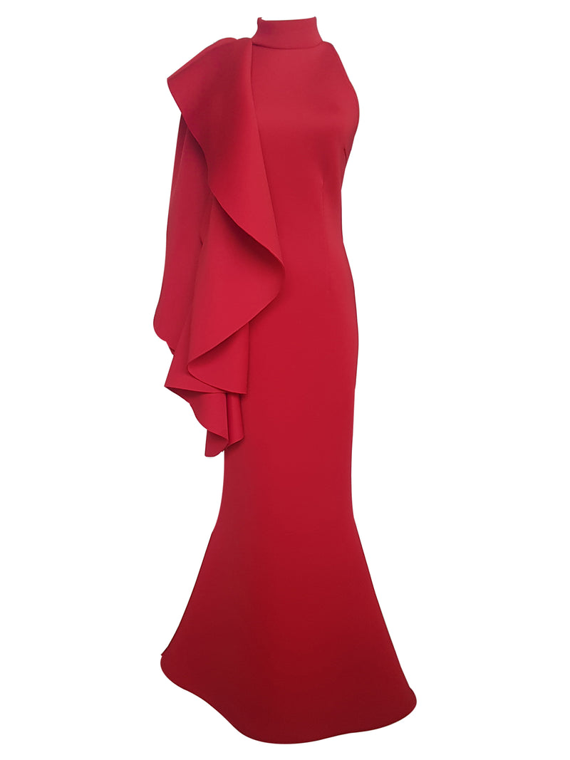 Halter One-Shoulder Flounce Gown