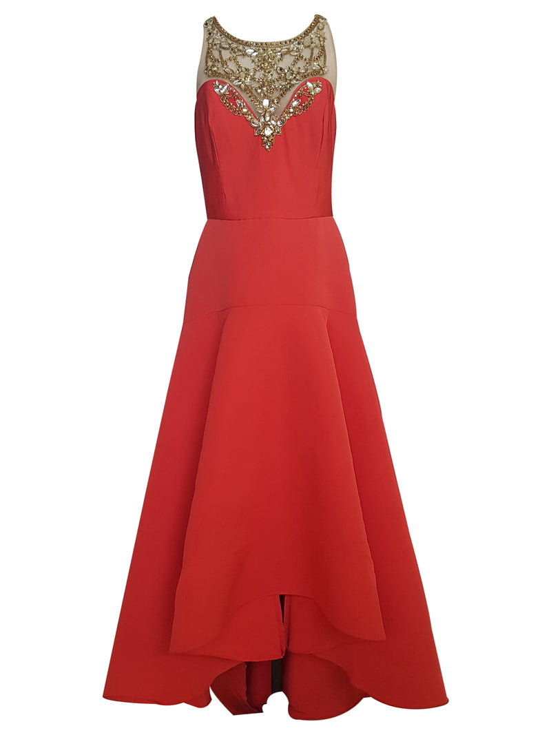 Orange Embellished High Low Gown