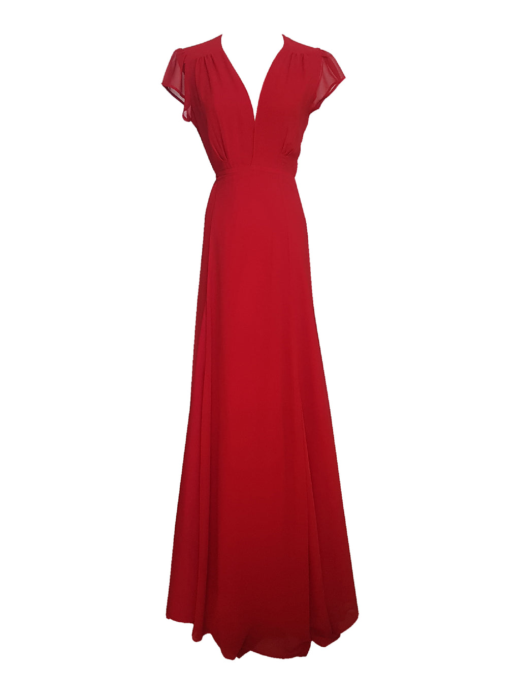 Red Plunge Neck Wrap Dress