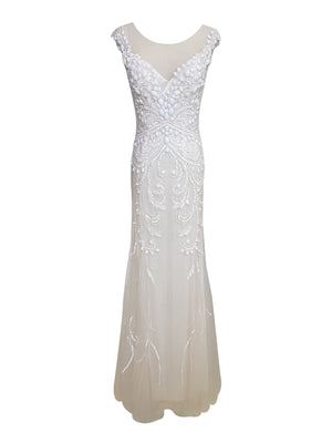 Cap-Sleeve Bridal Beaded Gown