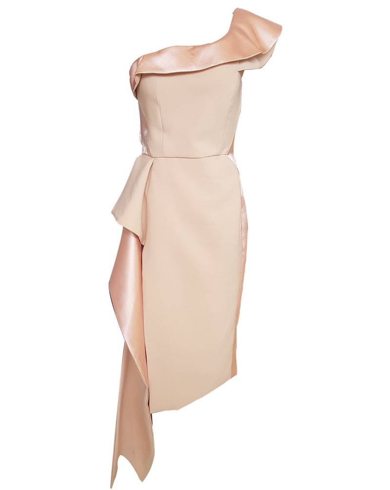 One Shoulder Pink Ruffle Cocktail Dress