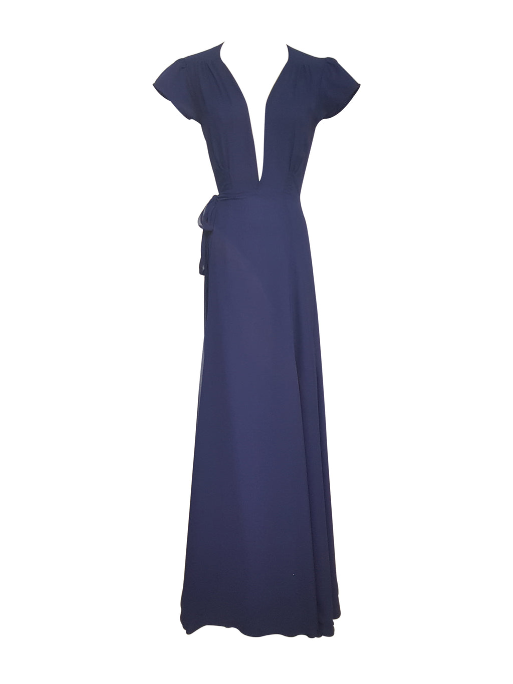 Navy Blue Plunge Neck Wrap Dress