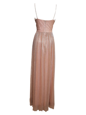 Front Crossover Metallic Pleated Gown