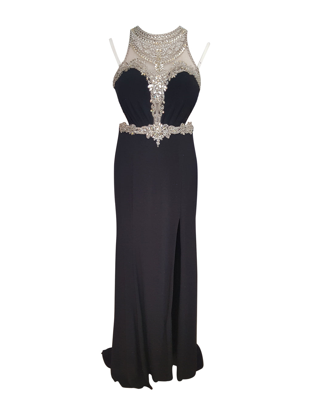 Black Crystal Beaded Illusion Gown