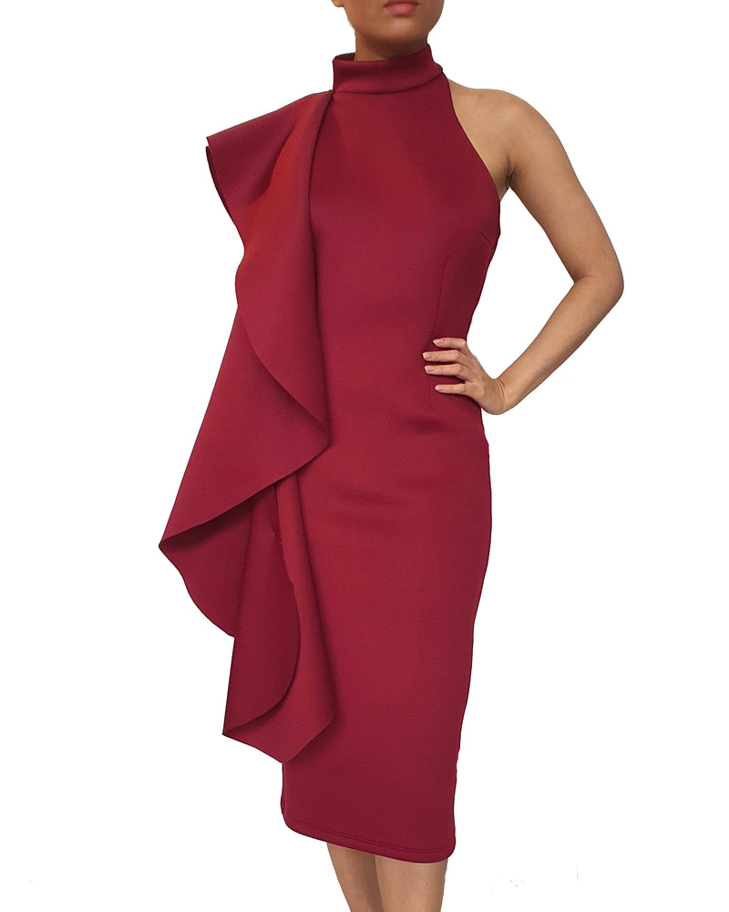 Halter One-Shoulder Flounce Dress