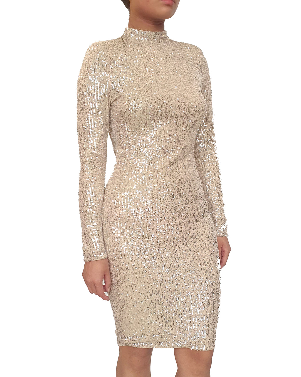 Champagne Gold Long Sleeve Dress