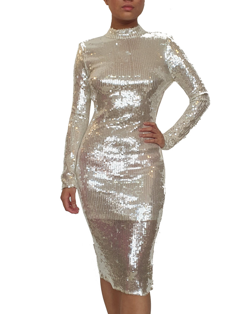 Silver Sequin Full Sleeve Dress
