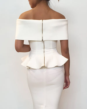 Off Shoulder Peplum Top and Skirt Set