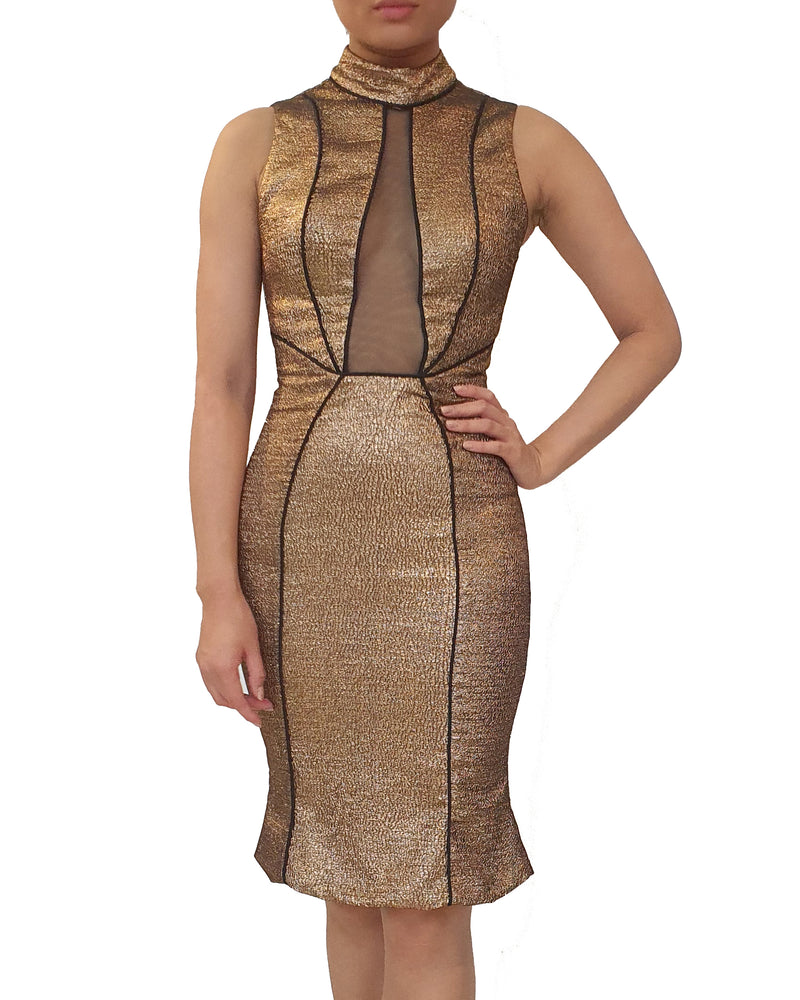 High Collar Metallic Dress