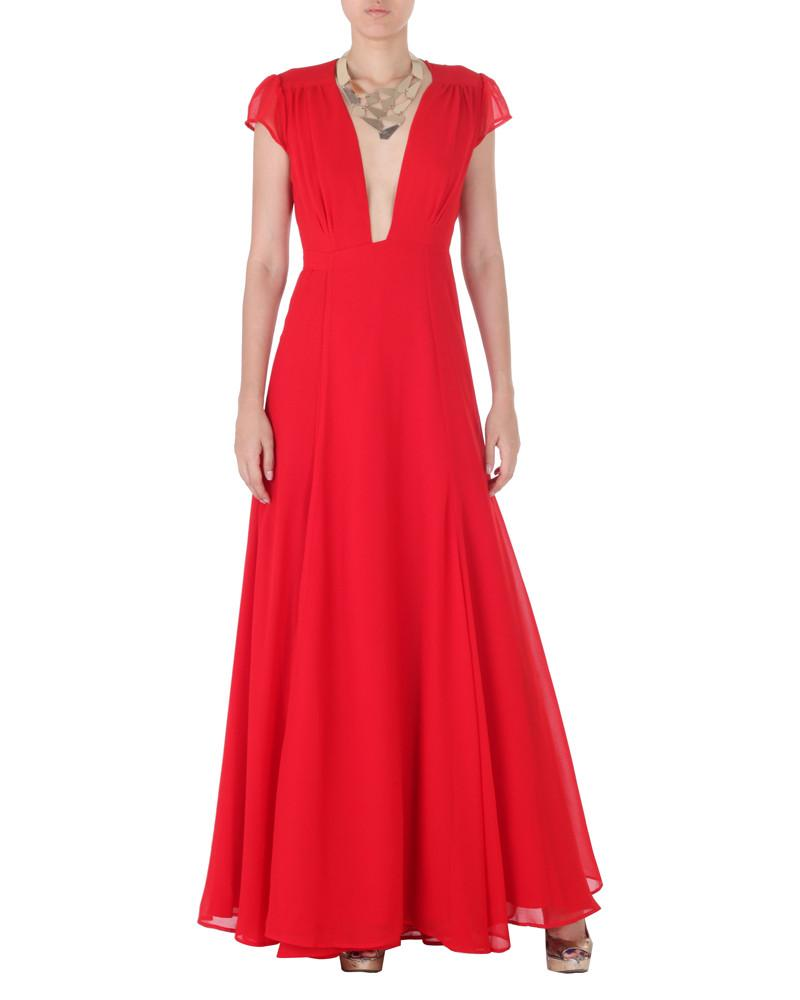 Plunge Neck Wrap Dress by Shikari - Rent or Buy It at Covetella