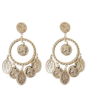 Antique Gold Coin Big Earrings