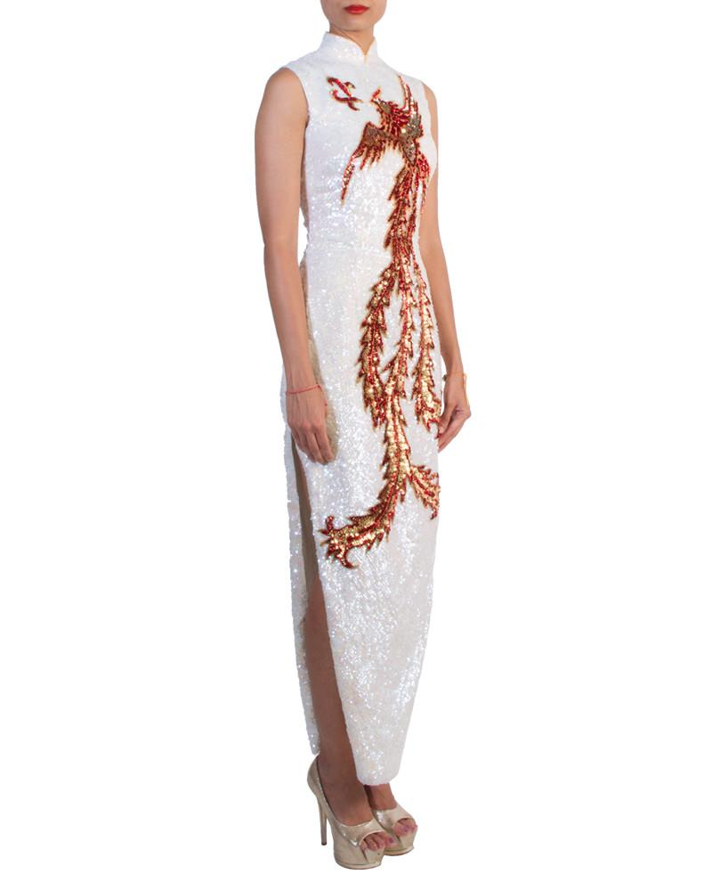 Sequin Phoenix Cheongsam by Custom - Rent or Buy It at Covetella