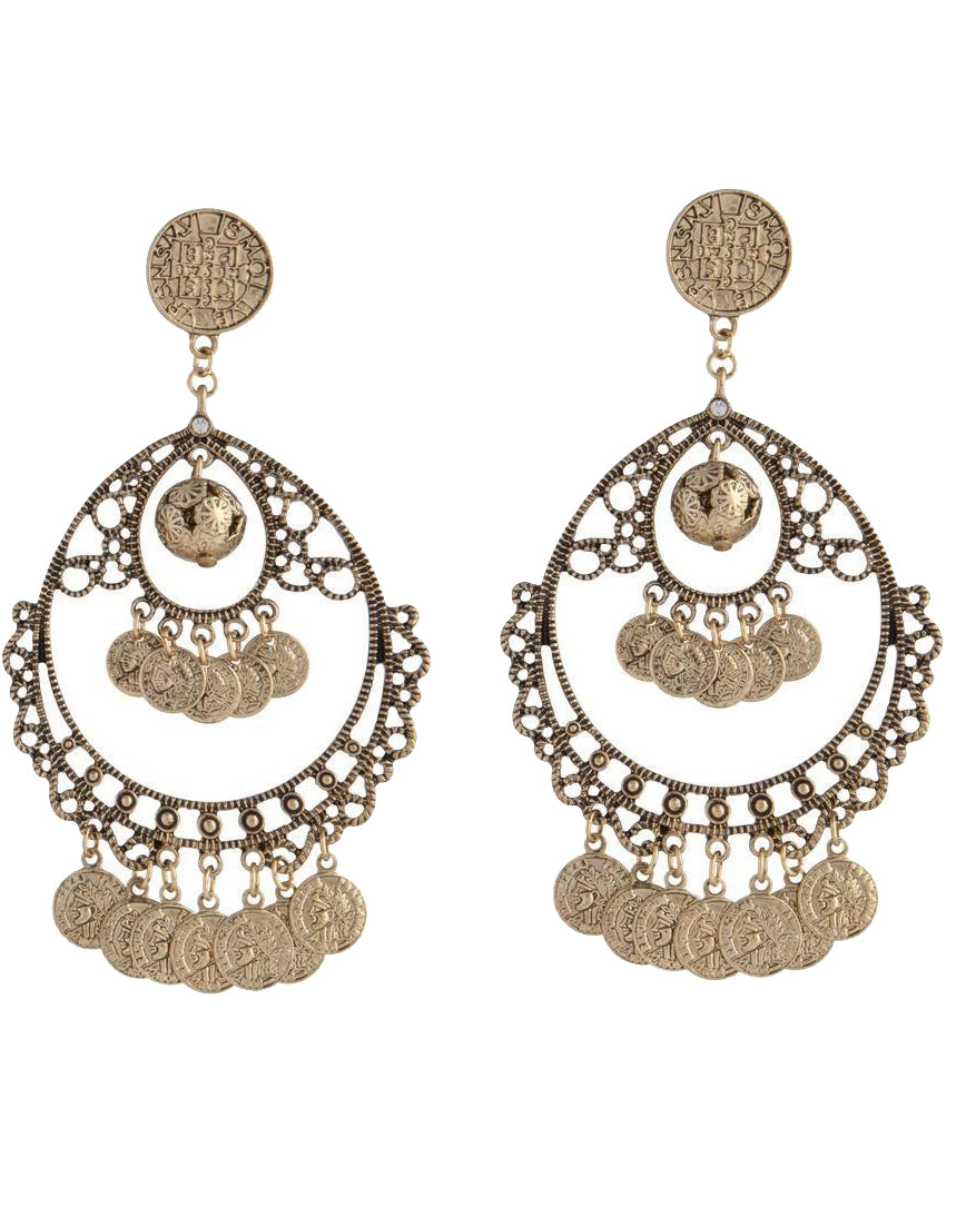 Antique Gold Coin Earrings