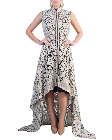 Applique Pattern Cut-Out Dress by Pankaj & Nidhi - Rent or Buy It at Covetella