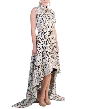 Applique Pattern Cut-Out Dress - Pankaj & Nidhi - Covetella Dress Rentals