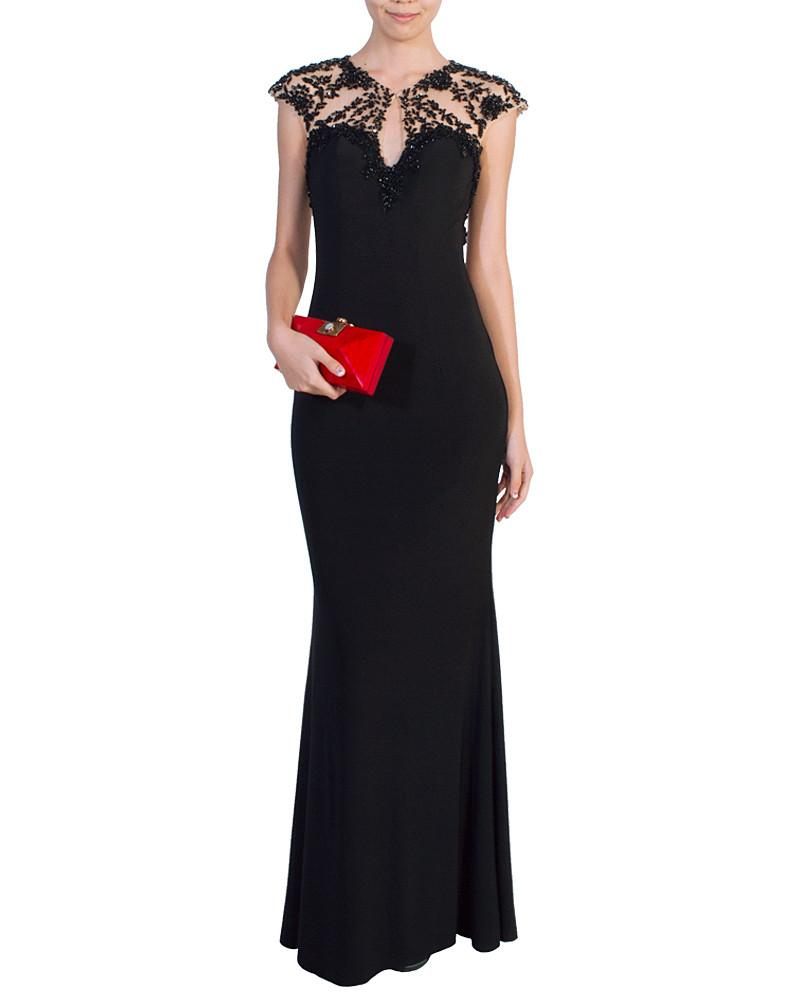 Beaded Cap Sleeve Gown - Fabuluxe - Covetella Dress Rentals
