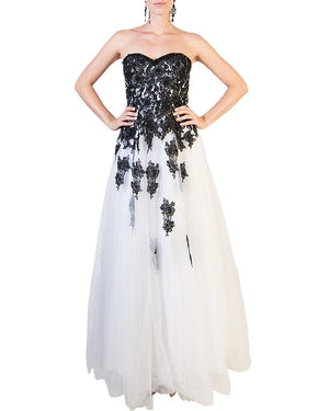 Falling Flower Sweetheart Evening Gown - ALYCE - Covetella Dress Rentals