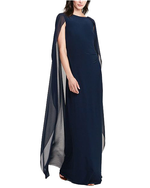 Sleeveless Georgette Cape Gown