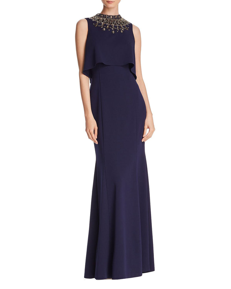 High Neck Embellished Crepe Gown