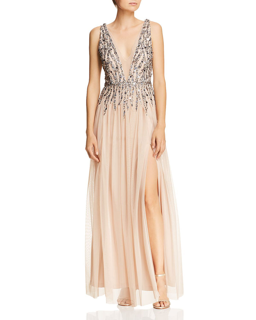 Beaded Mesh Plunging Gown