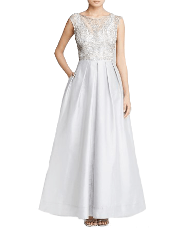 Beaded Overlay Taffeta Gown - Aidan Mattox - Covetella Dress Rentals