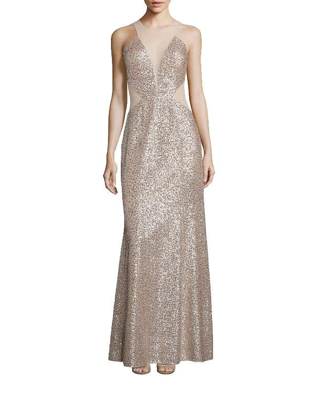 Sequin Illusion Cut-Out Gown by Aidan Mattox - Rent or Buy It at Covetella