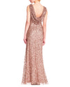 Ruched Sequin Gown with Cowl Back